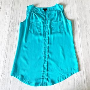 Worthington Aqua Blue Chiffon Work Tank Top
